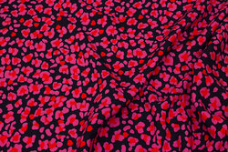 Marine bluse-viscose med pink mønster