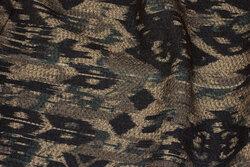 Filtet jakkestof i brun/marine mønster i Inka-stil