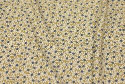 Sandfarvet bluse-viscose med ca. 3 cm margueritter
