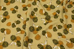 Let bluse-viscose i lys khaki med fugle og blade