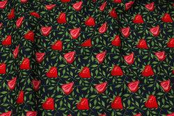 Marine bomuld med ca. 3 cm jordbær