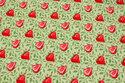 Lysegrøn bomuld med ca. 3 cm jordbær