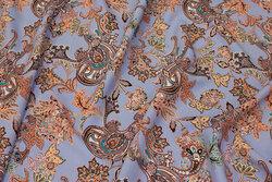 Lavendelblå bluse-viscose med Paisley-mønster