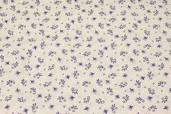Hvid bomuld med lille blåt mønster