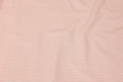 Let bomuld i smalstribet rosa og hvid