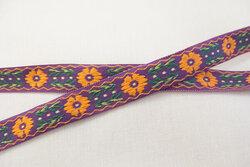 Vævet blomstret bånd lilla/orange 1,2cm
