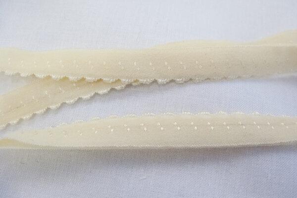 Foldeelastik med tungekant råhvid 1cm