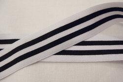 Stribet elastik sort/hvid 4cm