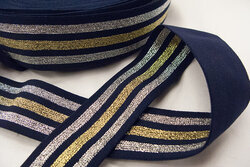 Elastik marineblå med guld og sølv striber 4cm bred