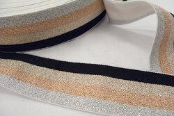 Elastik guld,sølv, kobber og sort - 4cm bred