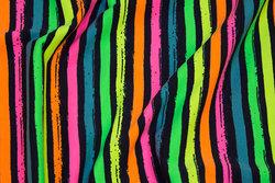 Tværstribet bomuldsjersey i neonfarver