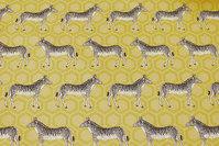 Varm gul gobelinstof med zebraer