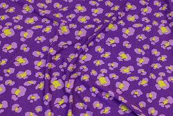 Viscose-jersey i violet med ca. 3 cm mønster i lyslilla og lime