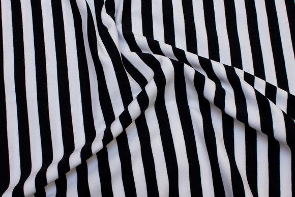 Bomuldsjersey med 10 mm sort og hvide striber