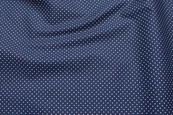 Marineblå bomuld med hvide små prikker