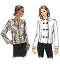 Semi-figursyet, foeret jakke med valgfrie skulderpuder, variationer i frontens udseende, topsømme.