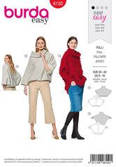 Pullover, kappe med integreret krave. Burda 6150.