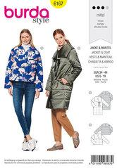 Quilted frakke eller jakke, stor krave, æggeformet. Burda 6167.