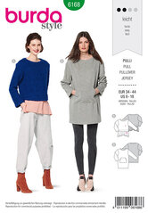 Pullover, to-i-en-look, lang top, kænguru-lomme. Burda 6168.