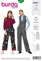 Bukser med snørring eller elastik. Burda 6173.