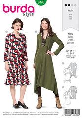 Kjole med binding i talje, klokkeformet nederdel, v-hals. Burda 6176.