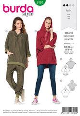 Sweater med hætte, hoodie, afslappet fit. Burda 6191.