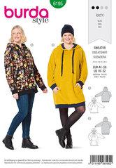 Sweater med hætte, hoodie, raglan-ærmer. Burda 6195.