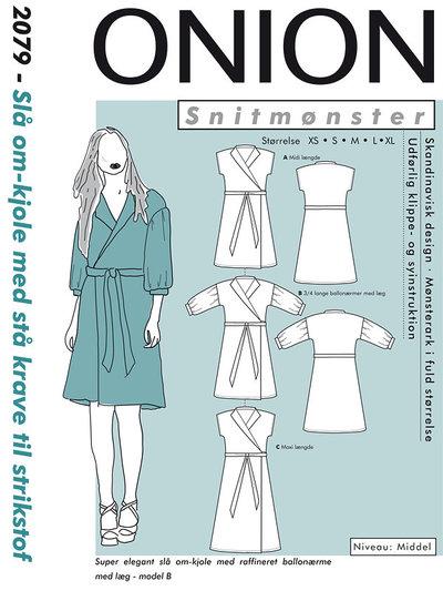 Slå-om kjole med stå krave