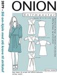 Onion 2079. Slå-om kjole med stå krave.