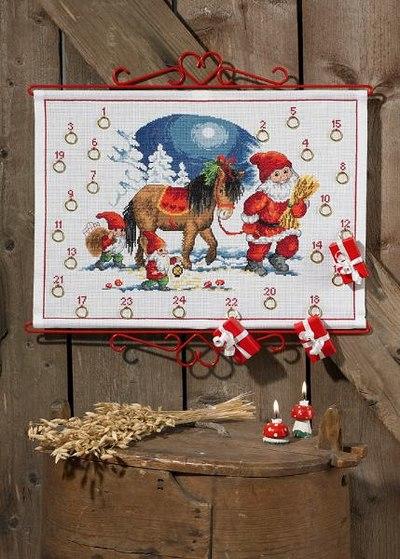 Julepakkekalender med Nisse og hest