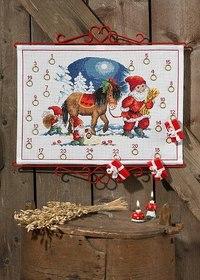 Julepakkekalender med Nisse og hest. Permin 34-5223.