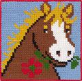 Permin 9313. Hest med blomst i mund.