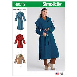 Frakke med bælte. Simplicity 9015.
