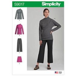Strik-top, bukser, nederdel. Simplicity 9017.
