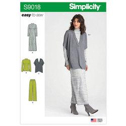 Bukser, strikvest, kjole, top. Simplicity 9018.