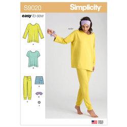 Nattøj, toppe, bukser, shorts og tilbehør. Simplicity 9020.