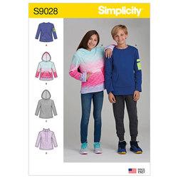Sweatshirts med hætte og lomme. Simplicity 9028.