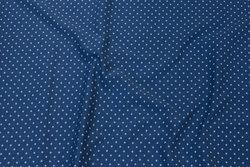 Dueblå bomuldsjersey med 2 mm lyseblå prik