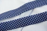 Folde-elastik prikker marineblå 2cm