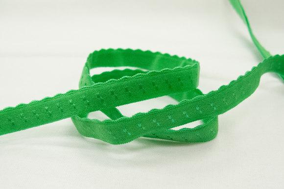 Foldeelastik med tungekant grøn 1cm