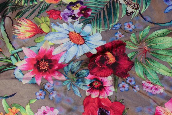 Gråbrun stretch-satin med blomster i multifarver