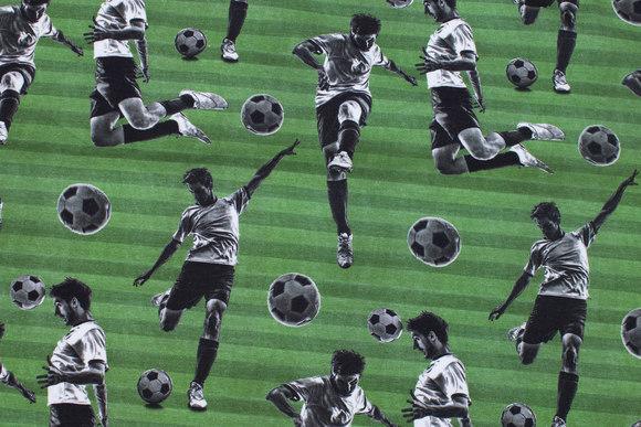 Græsgrøn bomuldsjersey med fodboldspillere