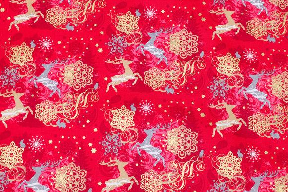 Julebomuld med rensdyr og guldtryk