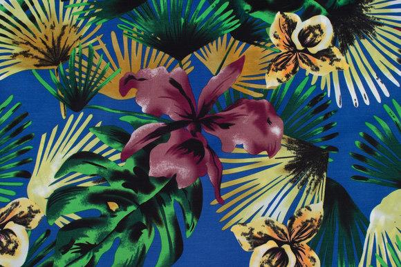 Let, blå micro-polyester med orkideer