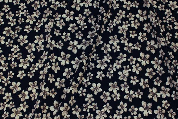Let, marine stræk-polyester med lysegrå blomster