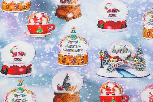 Lyseblå jule-bomuldsjersey med snekugler