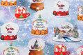 Lyseblå jule-bomuldsjersey med snekugler.