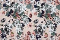 Pudderfarvet bomuldsjersey med blomster i marine, rosa og hvid