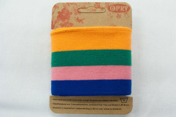 Ribkant blå, lyserød, grøn og orange
