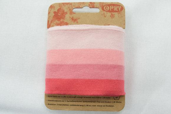 Ribkant lyserøde striber